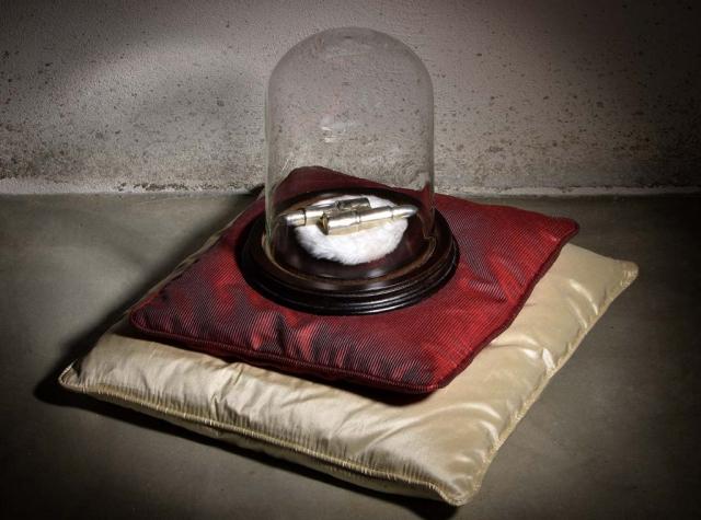 Francesca Gagliardi, Bullets, 2010, bronzo placcato argento, legno, vetro, cm 18x22