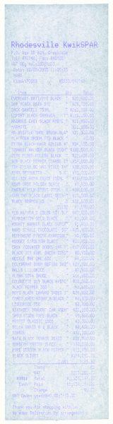 Monochrome Till Receipts (black), 2005, cm 30x7