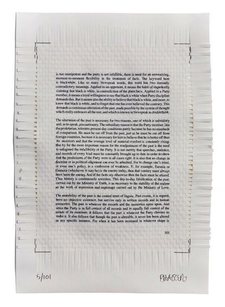 Dan Halter, Samizdat, 2011, stampa a getto d'inchiostro intrecciata a mano, cm 28x19