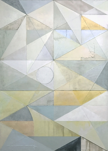 Michael Conrads, Door of Janus II, 2017 Various fabrics, gesso, acrylic, resin, verdigris, bitumen oil on canvas, cm 213x152
