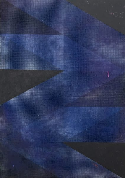 Michael Conrads, Ways No.7 (Blue), 2017 Silkscreen and DIY dyed fabric, acrylic, spraypaint on canvas, cm 170x119