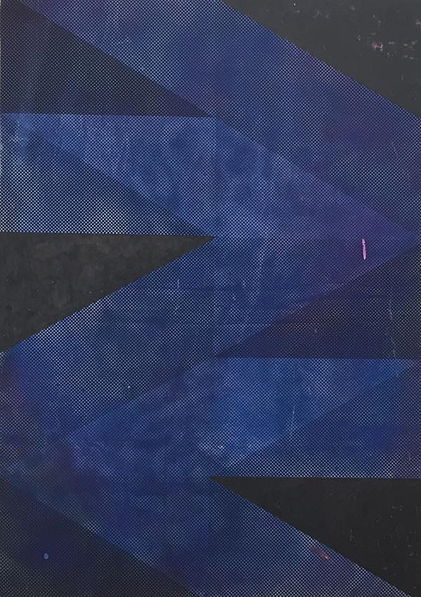 Michael Conrads, Ways No.7 (Blue), 2017 Silkscreen and DIY dyed fabric, acrylic, spraypaint on canvas, cm 170x119