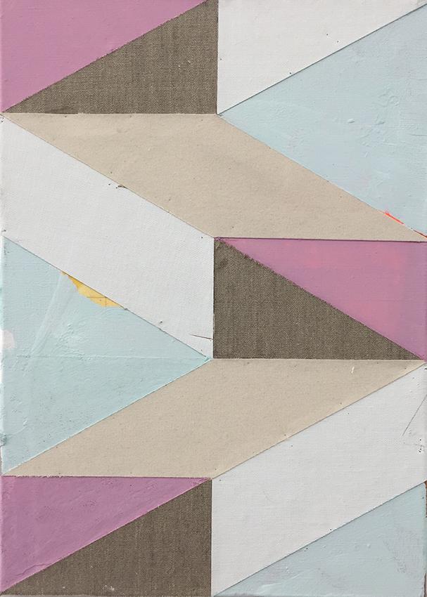 Michael Conrads, Untitled, 2017, Various fabrics, acrylic paint, on canvas, cm 53 x 38
