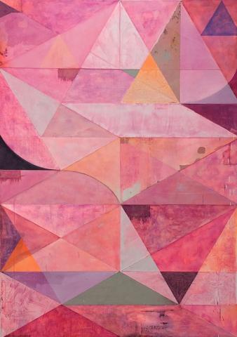 Michael Conrads, Untitled, various fabrics, gesso, acrylic, watercolor, spraypaint, pigment, oil on canvas, cm 213x152