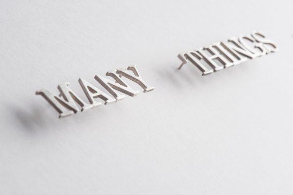 Gema Rupérez, La plata, detail, 2015, silver letters, variable dimensions