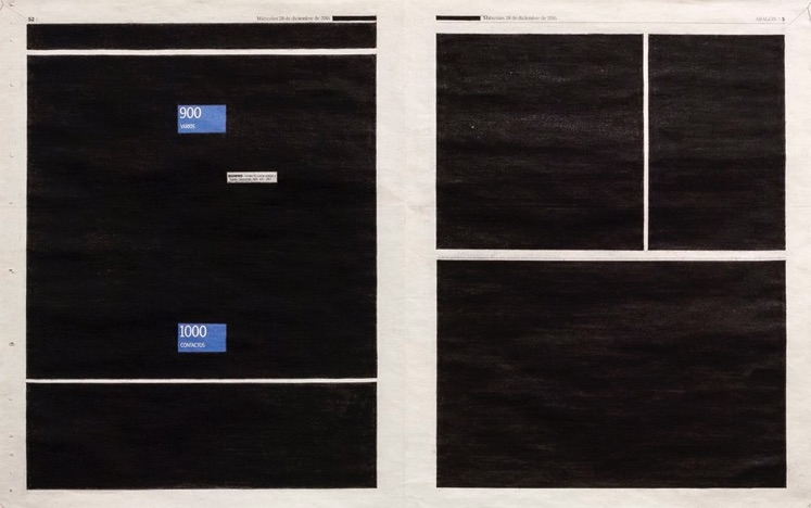 Gema Rupérez, Missed call, 2016-2017, installation: intervened newspaper sheets, telephone, video-registration, variable dimensions
